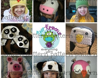 PATTERN Animal Faces Combo Pack 64 Hats in 1 Crochet PATTERN