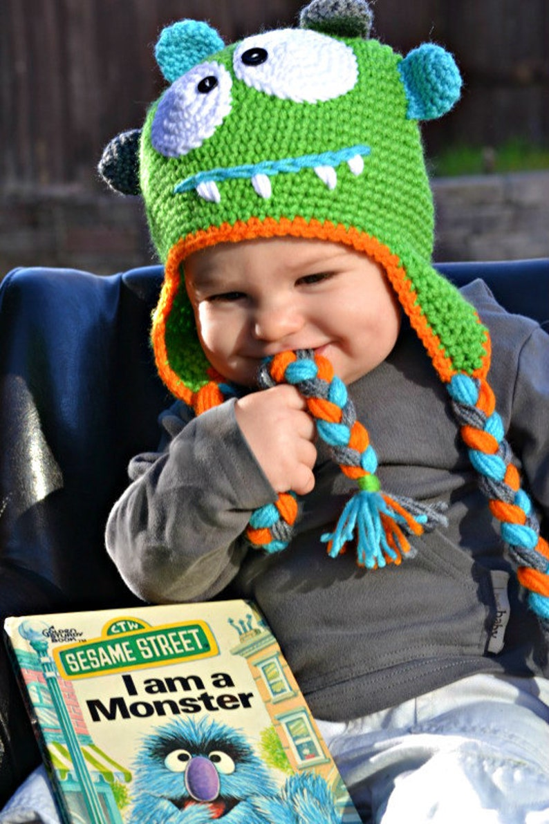 Monster Crochet Earflap Hat with Googly Eyes image 0