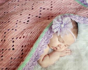 PATTERN Chevron Filet Baby Blanket PATTERN