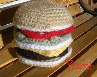 Crochet Amigurumi Cheeseburger Toy 7 pieces Food