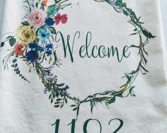 Personalized Tea towel address Mother's Day Welcome flour sack