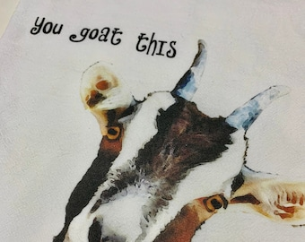 Goat towel watercolor goat kitchen flour sack cute goat towel you goat this