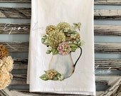 Hydrangea towel kitchen flour sack towel floral rusty watering pitcher farmhouse towel vintage floral towel fall towel