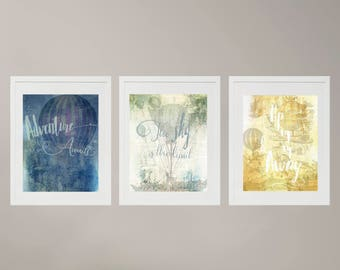 "Set of 3 *8x10 Digital prints ""Adventure Awaits, The sky is the limit, Up up & away"""