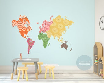 NEW! Boho inspired, World Map, Set, continents, wall Art, colorful, Large scale, patterned, map, fabric wall decals, travel, explorer