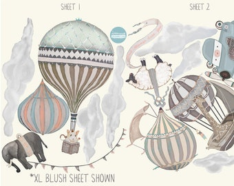 NEW Release! XL BLUSH Set, 7 Hot Air Balloon Animals & 10 Clouds, nursery, baby, rose gold, hand painted look, fabric Wall decals