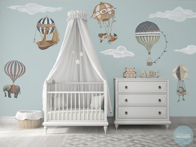XL Vintage Hot Air Balloon Animals Set of 7 12 Clouds image 0