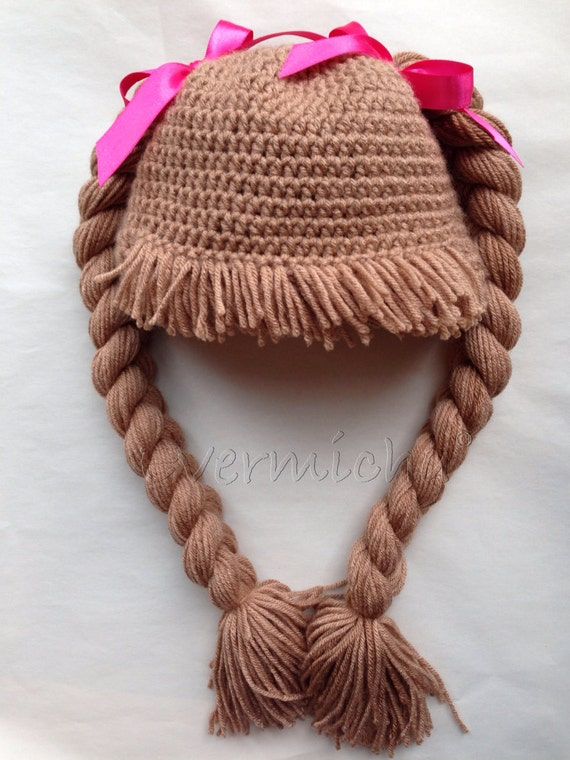 Brunette cabbage patch braided pigtail hat with straight bangs  b66f7533f70