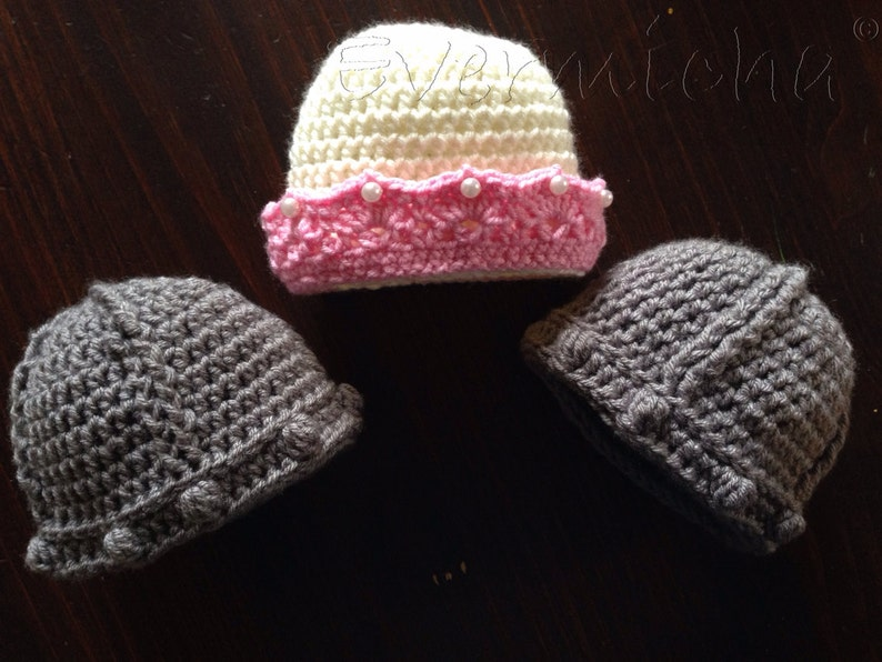 Princess and her knights twins triplets multiples crochet beanies photo prop game of thrones