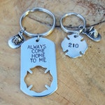 Firefighter Keychains With Dog Tag and Maltese Cross Personalized Just For You, Always Come Home To Me