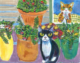 """Cat art card, """"Watching the Tuxedo"""", 5"""" x 5"""" blank greeting card, sweet cat with flowers"""