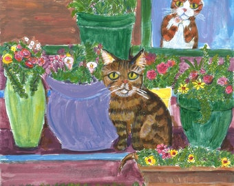 """Cat art card, """"Watching the Tabby"""", 5"""" x 5"""" blank greeting card, sweet cat with flowers"""