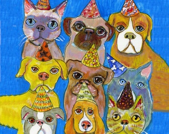 """Birthday card, with seven dogs and two cats wearing birthday hats, dog art card, cat art card,   5"""" x 5"""" blank card"""