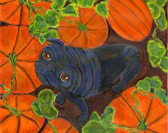 "Black Pug art ""Fall colors"" , blank inside, great autumn card, great halloween card"