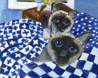 "Playful kitten stalks Mom cat card,   ""Pouncing kitten on blue and white linens,"" 5"" x 5"" blank art card, cat art"