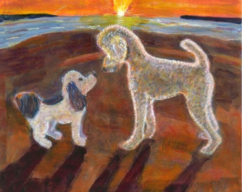 """Dog art greeting card, beach dogs, """"When their eyes met"""" Two dogs on a beach at sunset,  5"""" x 5"""" blank card,"""