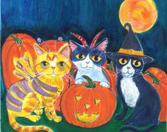 """Cat art card, Halloween themed.""""The Witch, the Demon and the Butterfly"""" ,""""Cats in costumes, Halloween card, blank inside"""