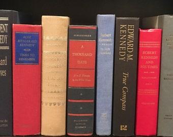 Kennedy Book Collection,decorative books, vintage books,John F Kennedy,Presidents,Kennedy's,JFK books,Jackie Kennedy,Joseph Kennedy,Camelot