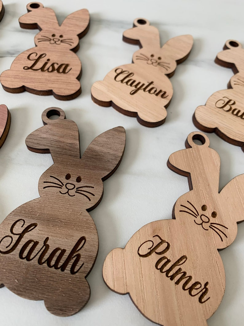 custom easter label easter basket name tags personalized name plate easter bunny tag Easter basket name tag easter bunny charm