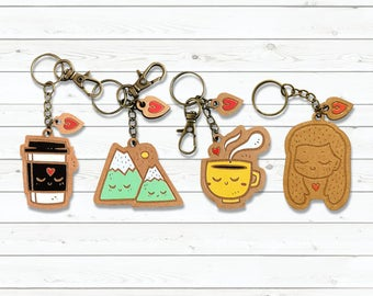 Kawaii Wooden Key-chain