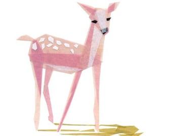 Pinky Fawn - Fawn Art Print, Deer Print, Animal Decor