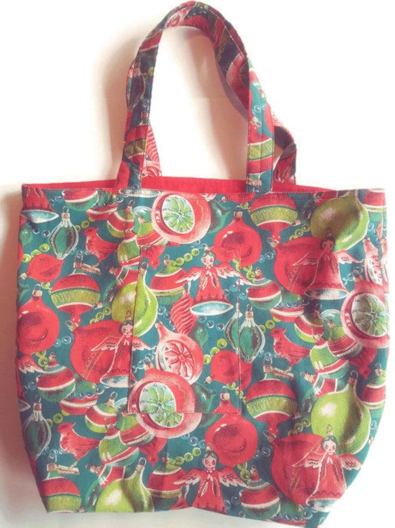cloth purse Market Bag tote bag retro 1950s Christmas fabric tote bag holiday shopping bag reusable shopping bag