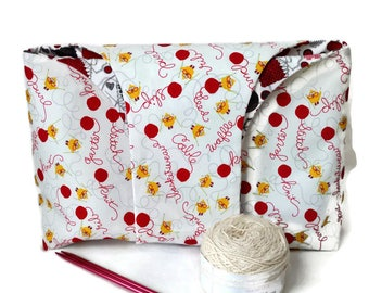 Large Yarn Bag White Chicken & Yarn Words and Flannel Red and Gray Yarn and Knitting Needles Reversible Yarn Shopping Bag Project Tote S388