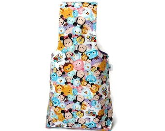 Medium Yarn Bag Disney Tsum Tsum Reversible Yarn Wrist Bag / Project Tote / Knitting Bag / Crochet Bag S391