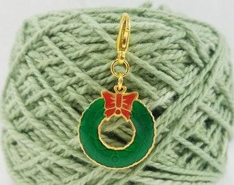 Gold Holiday Wreath Lobster Clasp Stitch Marker, Progress Keeper, Zipper Pull, Stitch Keeper, Dangle Charm