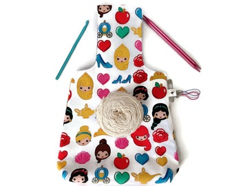 Medium Yarn Bag Disney Emojiland Princess Reversible Yarn Wrist Bag / Project Tote / Knitting Bag / Crochet Bag S389