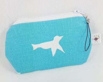 Mini Zipper Pouch Turquoise and White Flying Dove Bird Silhouette / Coin Purse / Scissor Case / Stitch Marker Pouch