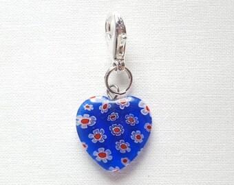 Blue Heart with Red Flowers Lobster Clasp Charm, Locking, Stitch Marker, Progress Keeper, Zipper Pull, Stitch Keeper, Dangle Charm C046