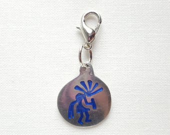 Silver Circle Charm with Blue Tribal Guy Lobster Clasp Stitch Marker, Progress Keeper, Zipper Pull, Stitch Keeper, Dangle Charm C031