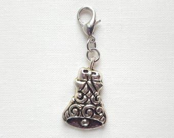 Silver Holiday Bell Lobster Clasp Charm, Locking, Stitch Marker, Progress Keeper, Zipper Pull, Stitch Keeper, Dangle Charm C023