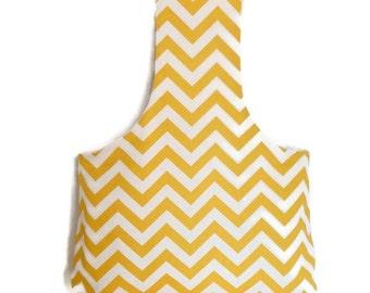 Large Yarn Bag Yellow & Natural Zig Zag Reversible Yarn Bag / Project Tote / Shopping Bag / Knitting Tote / Crochet Bag S145