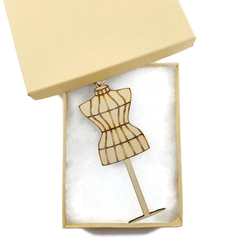 Dress Form Laser Cut /& Engraved Wood Ornament R086