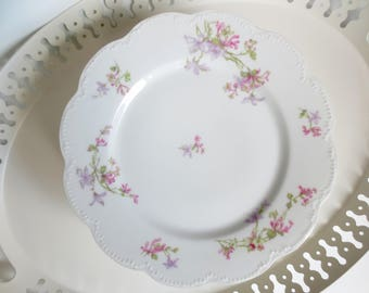 Haviland Limoges France Dinner Plates Large Scalloped Pink Purple Flowers Floral Service French China Dinnerware Victorian & French dinnerware | Etsy