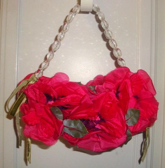 Roses floral purse fuschia pink silk flowers designer ooak vtg etsy mightylinksfo