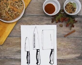 Cooking Knife Trio - Screen Printed Cotton Flour Sack Kitchen Tea Towel