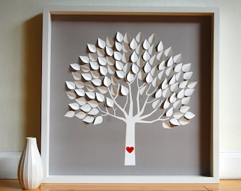 Personalized Wedding Guest Book, Unique Wedding Guest Book Alternative - Framed 3D Wedding Tree - MED - for 150 guests
