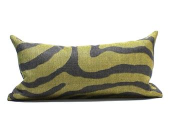 Lumbar Pillow Cover 8x16 Petite Lumbar Green Brown Faux Zebra Animal Skin Upholstery Fabric Throw Pillow Cover Decorative Pillow Mini Pillow