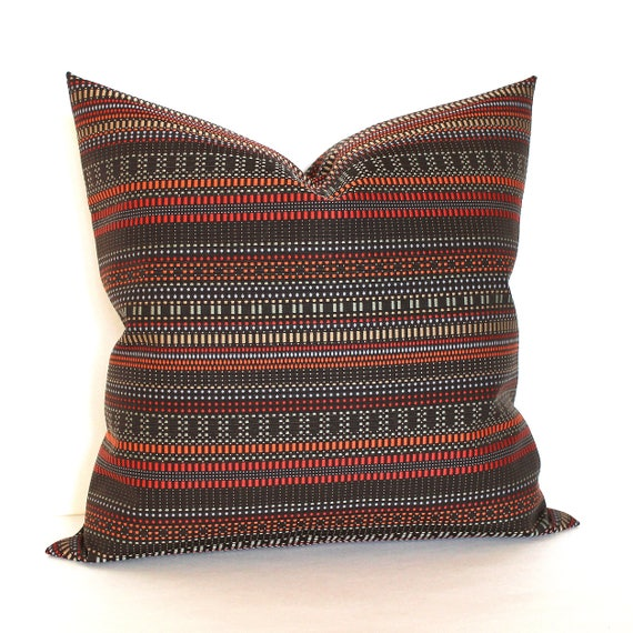 Throw Pillow Sham//Cover for 18x18 Insert CHRISTMAS Red Green Diagonal Striped