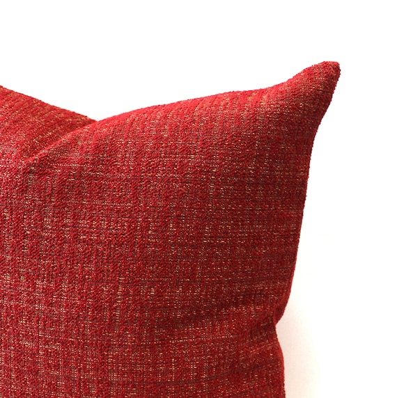 Cranberry Throw Pillow Cover Textured