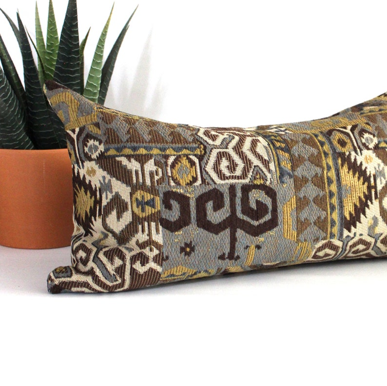 Lumbar Pillow Cover Turquoise  Gold Southwest Tapestry Upholstery Decorative Pillow Oblong Throw Pillow Cover 14x26 12x24 12x21 12x18 10x20