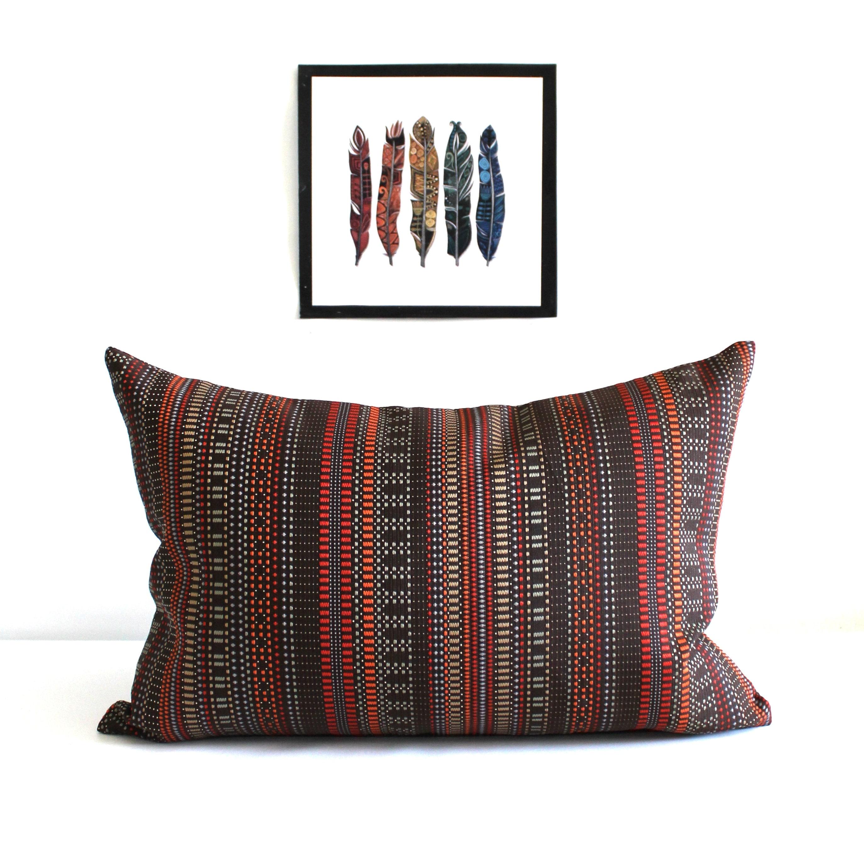 Lumbar Pillow Cover Rust Brown Throw Pillow Covers Stripe Upholstery Fabric Oblong Decorative Pillow 14x26 12x24 12x21 12x18 12x16 10x20
