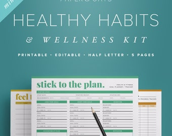 fitness planner health planner fitness journal daily habits etsy