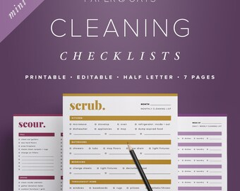 cleaning checklists cleaning schedule house cleaning list etsy