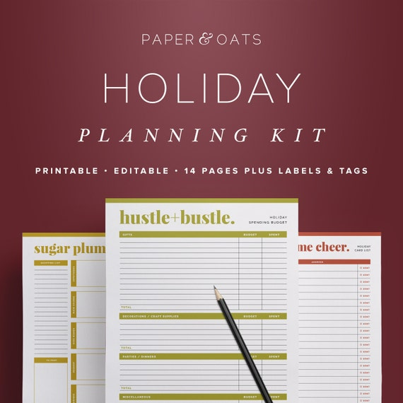 holiday planner 2018 christmas planner holiday planning etsy