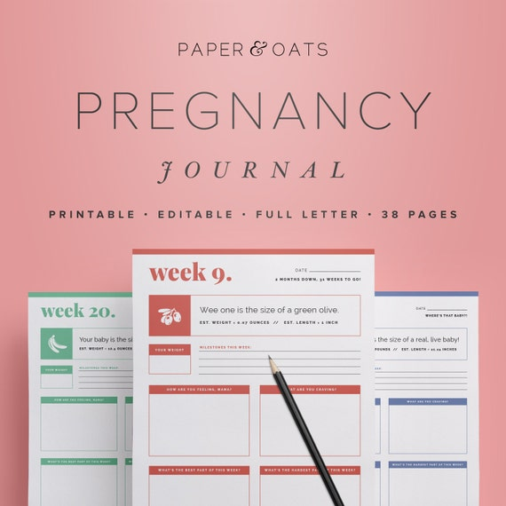 Pregnancy Journal Pregnancy Countdown Pregnancy Tracker Etsy