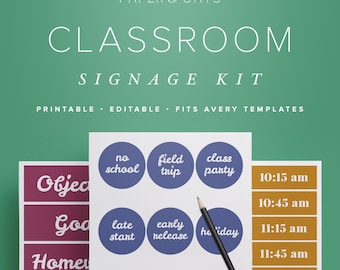 Classroom Decor Kit, Printable Classroom Decorations, Classroom Organization, Bulletin Board Printables, Teacher PDF, Teacher Appreciation